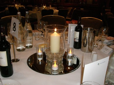 Table Centre: Hurricane lanterns