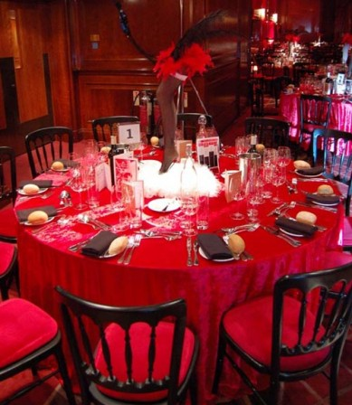 Red and black table setting