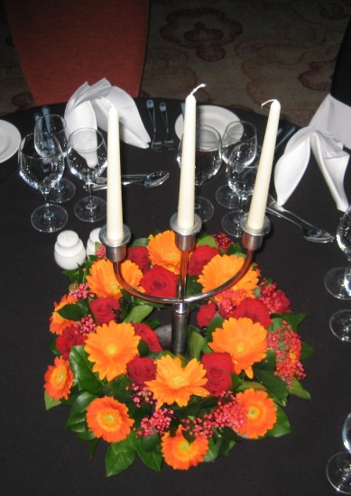 Table Centre: Floral Ring Candelabra