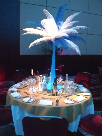 Table Centre: Blue & White Feather Towers