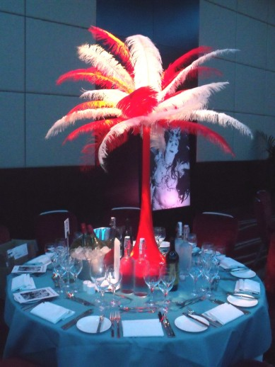 Table Centre: Red & White Feather Tower